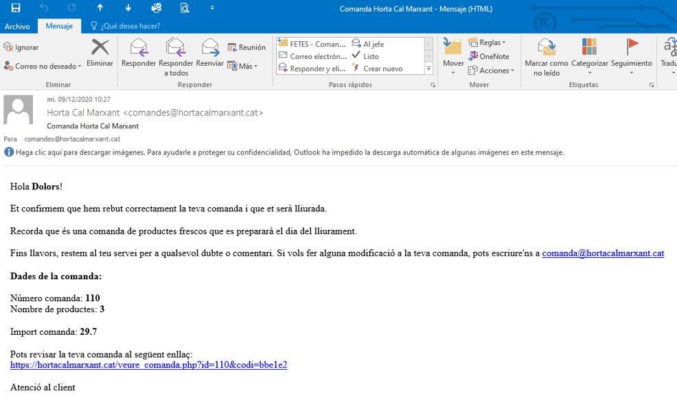 Tutorial - email confirmacio comanda